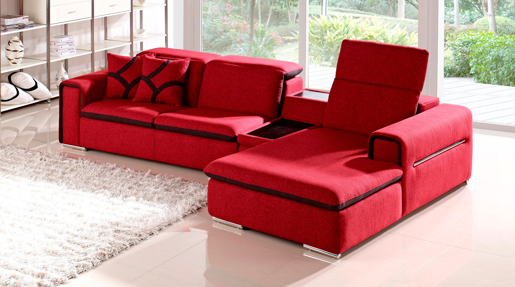 Red Indigo Fabric Sectional Sofa With Table And Storage