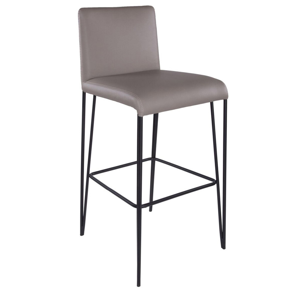 ishkhan leather and steel bar stool zuri furniture. Black Bedroom Furniture Sets. Home Design Ideas