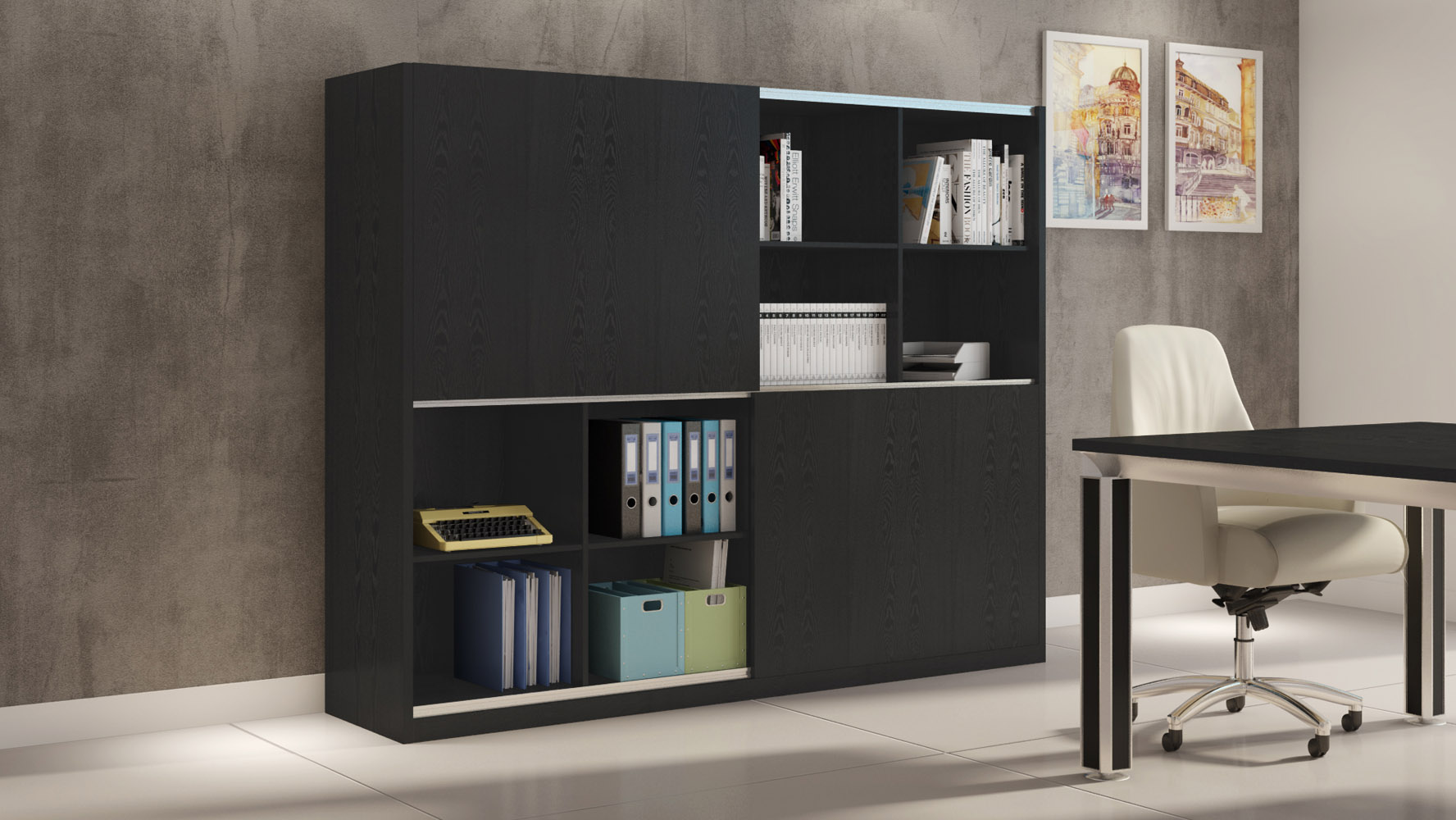 Jackson Black Wood Bookcase Wall Unit Modern