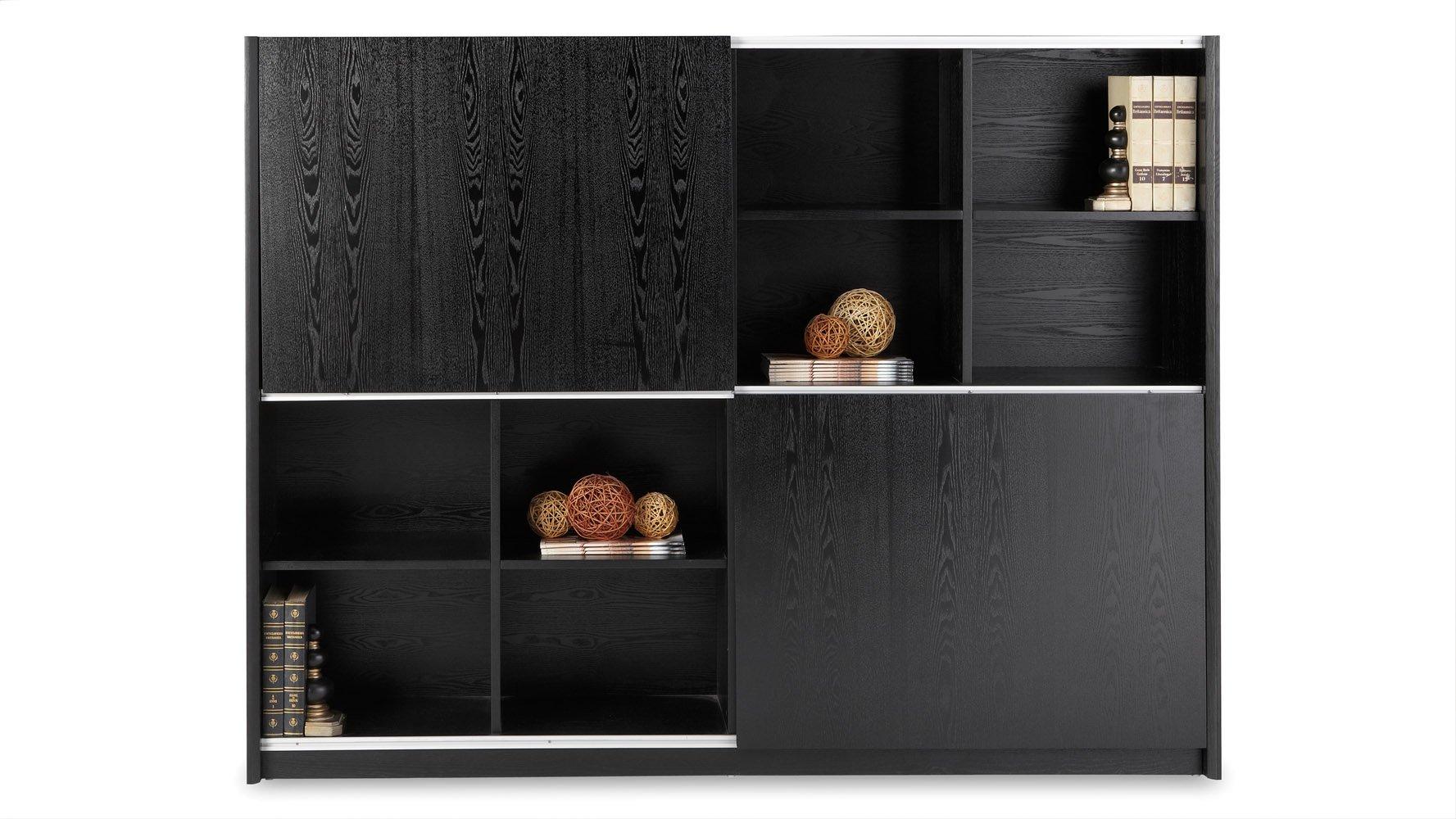 Jackson Executive Bookcase and Wall Unit with Sliding Doors - Black | Zuri Furniture