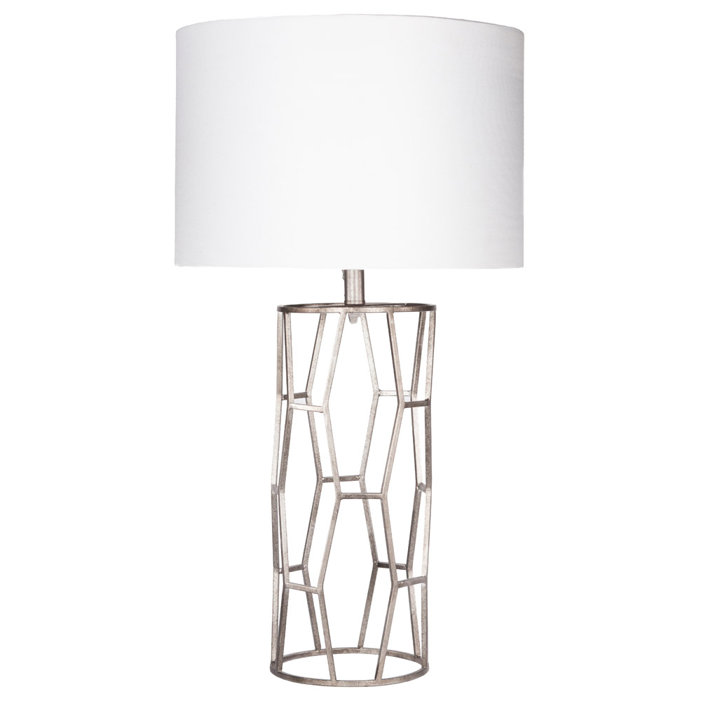 Kareli metal base and linen shade table lamp silver and white clear all filters geotapseo Image collections