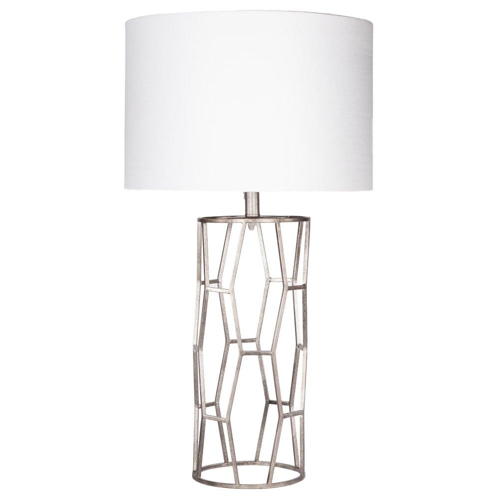 Kareli Metal Base And Linen Shade Table Lamp Silver And White