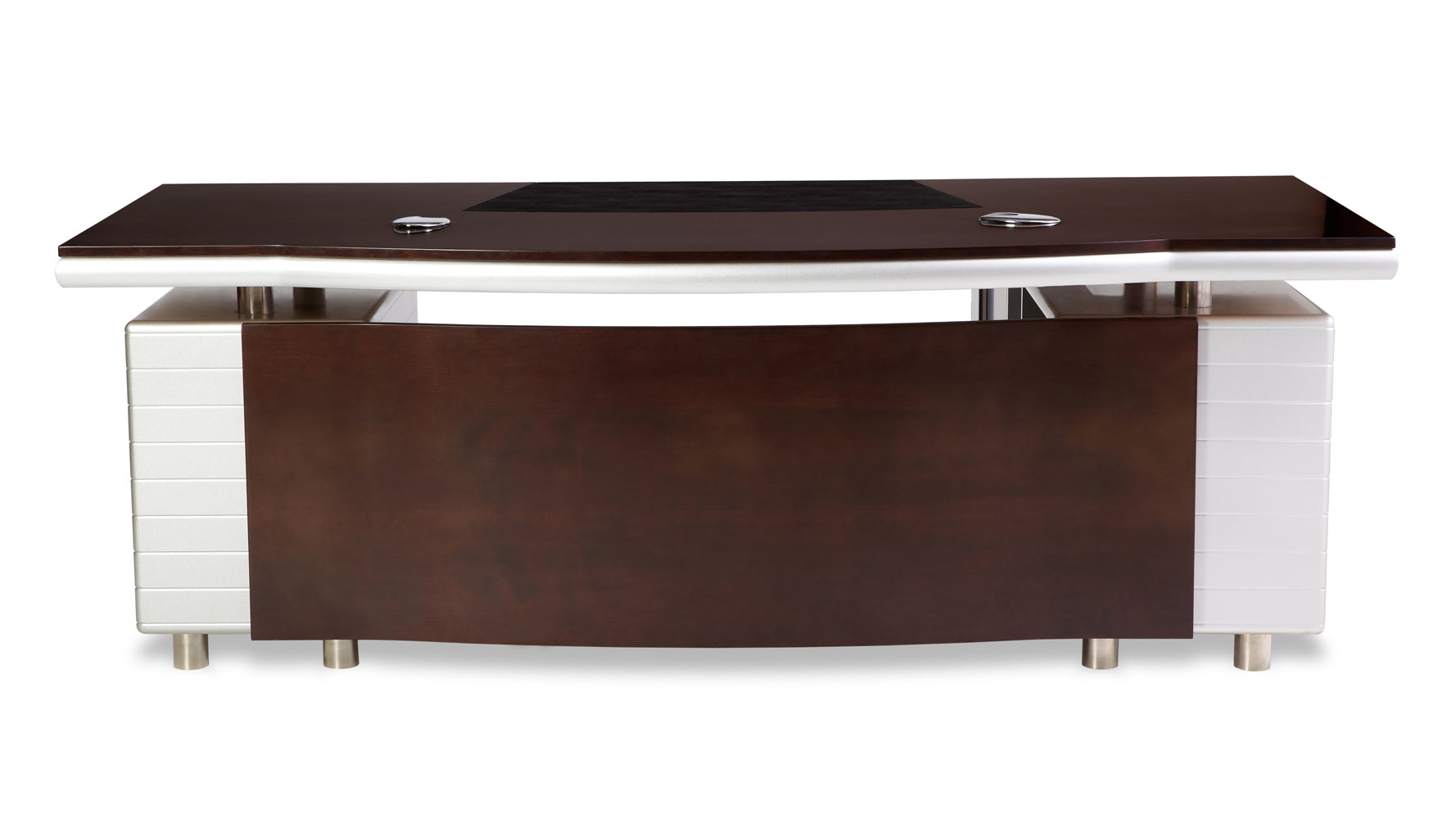 Kennedy Executive Desk With Powder Chrome Accents Zuri