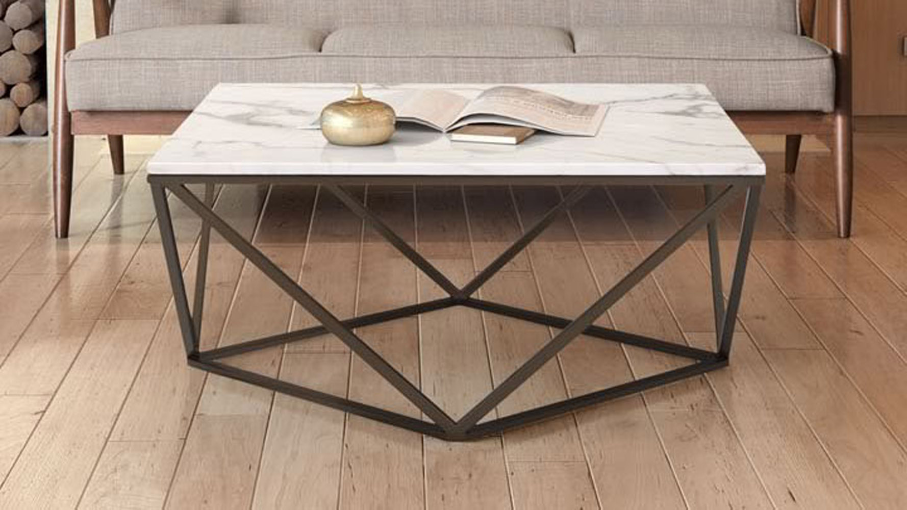 Klee Faux Marble Coffee Table Stone Antique Brass Zuri Furniture