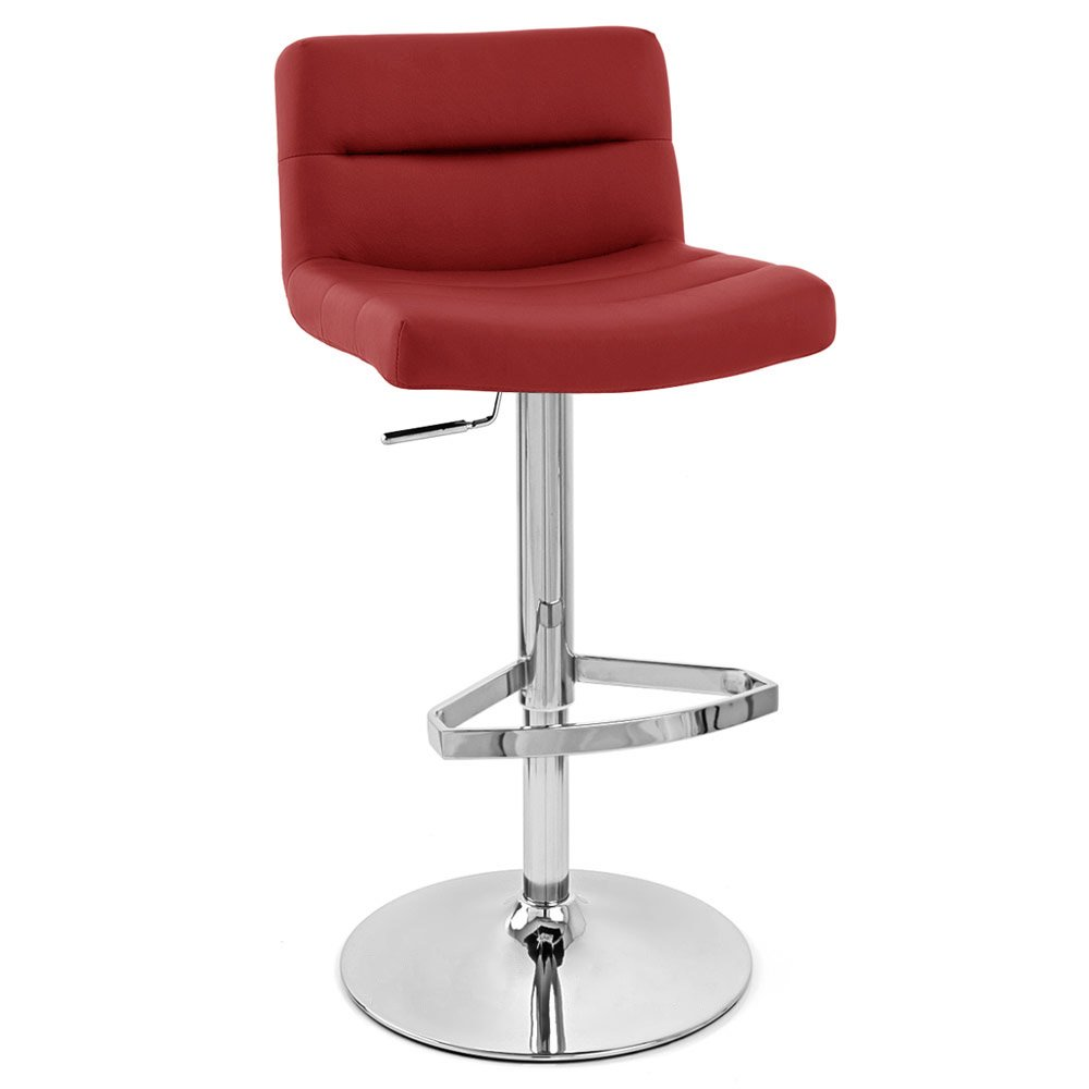 Red Lattice Adjustable Height Swivel Armless Bar Stool