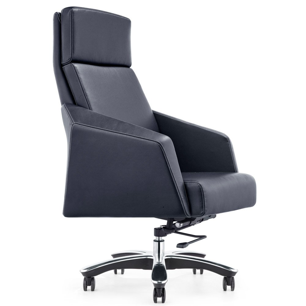 lauren genuine leather aluminum base high back executive chair