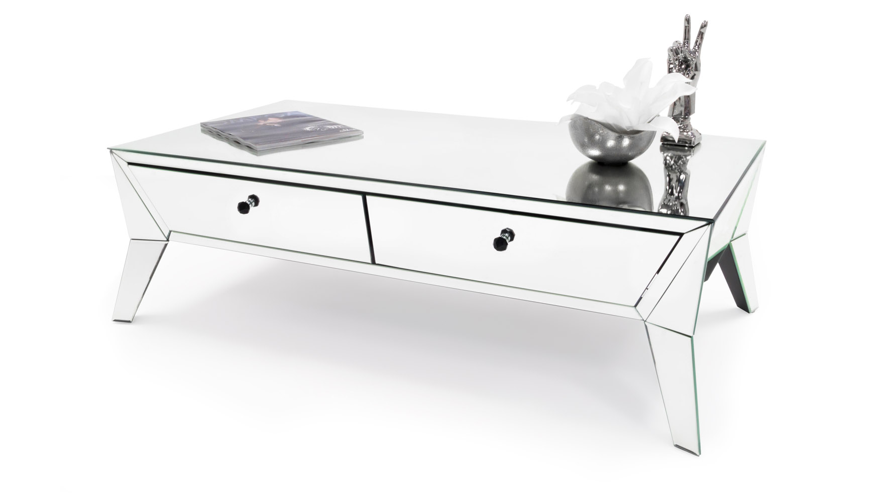 lave mirrored glass coffee table | zuri furniture