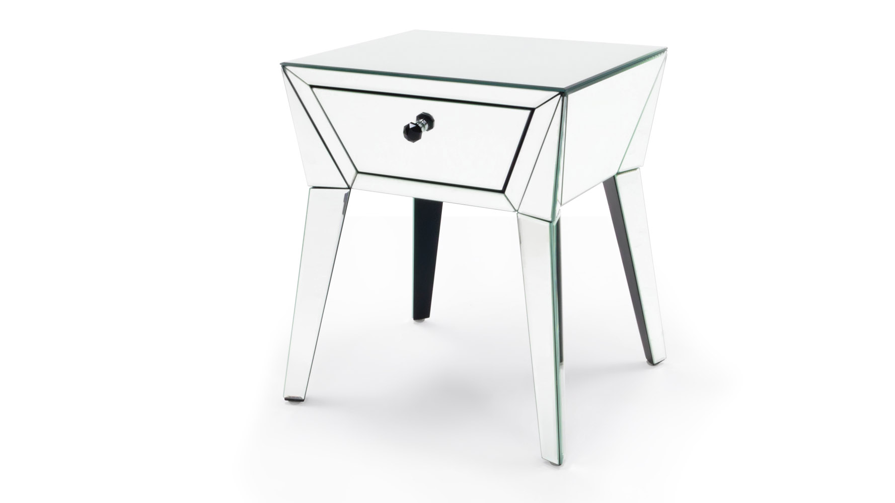 Lave mirrored glass end table zuri furniture