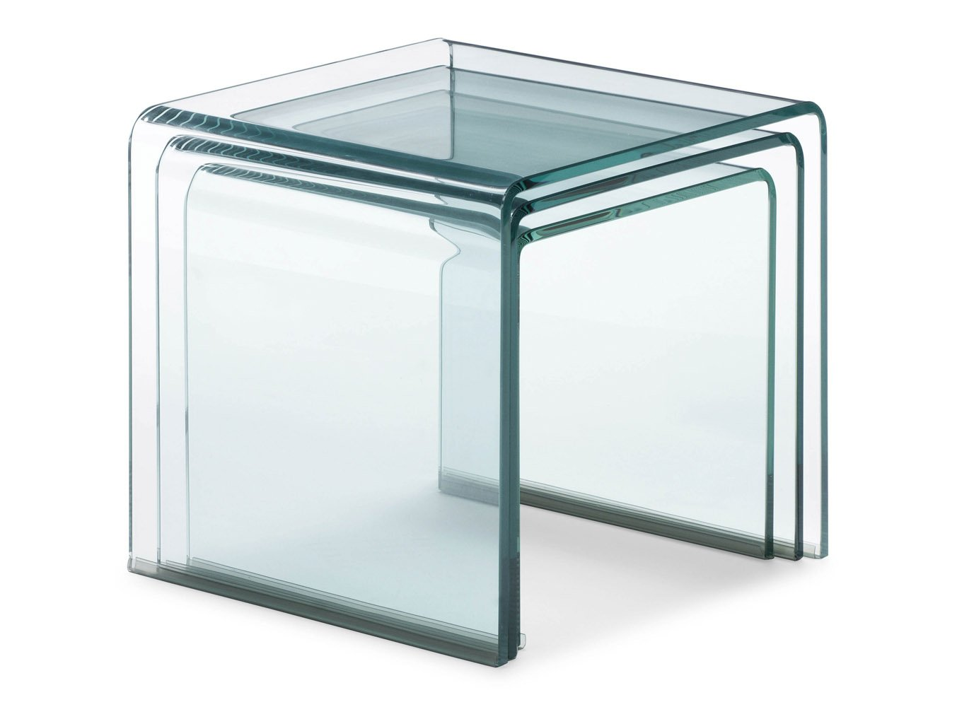 Glass Nesting Tables ~ Leah tempered glass nesting table clear zuri