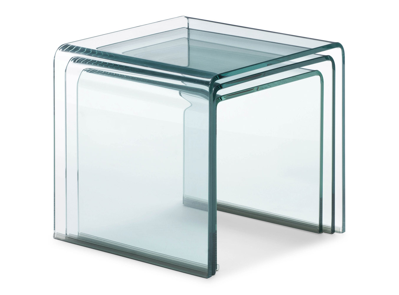 Leah tempered glass nesting table clear zuri