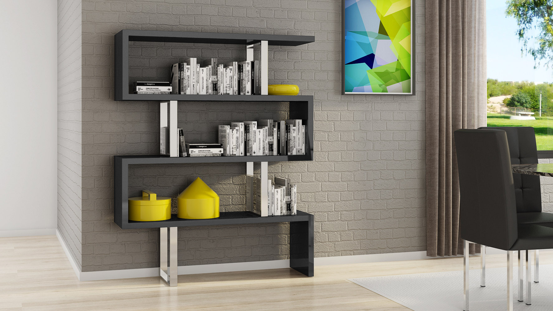 Lester High Gloss Black And Silver Modern Cube 66 Inch