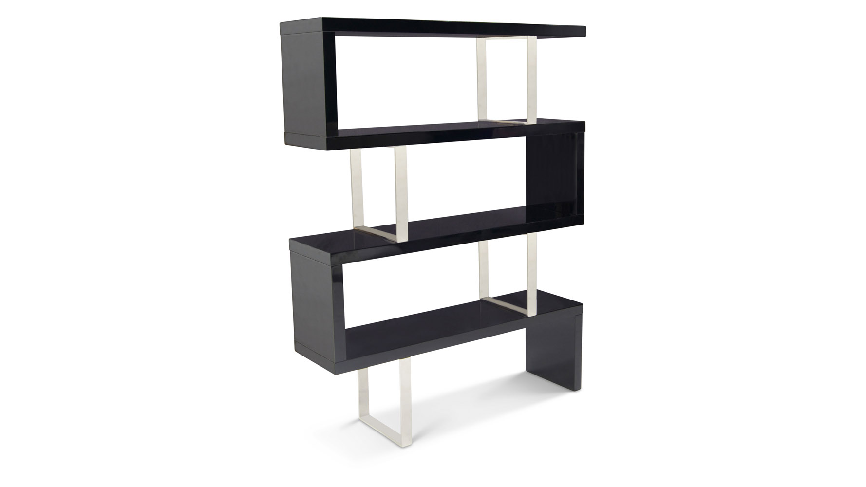 Lester High Gloss Black And Silver Modern Cube 66 Inch Bookcase