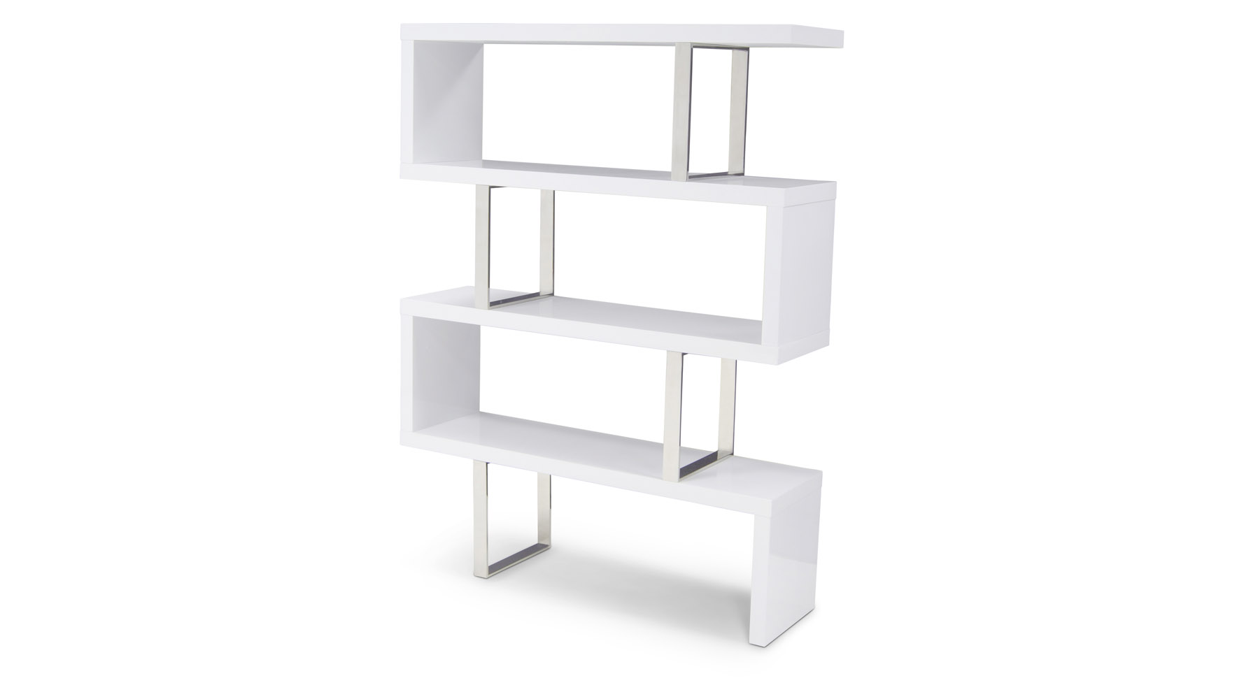 Lester High Gloss White And Silver Modern Cube 66 Inch