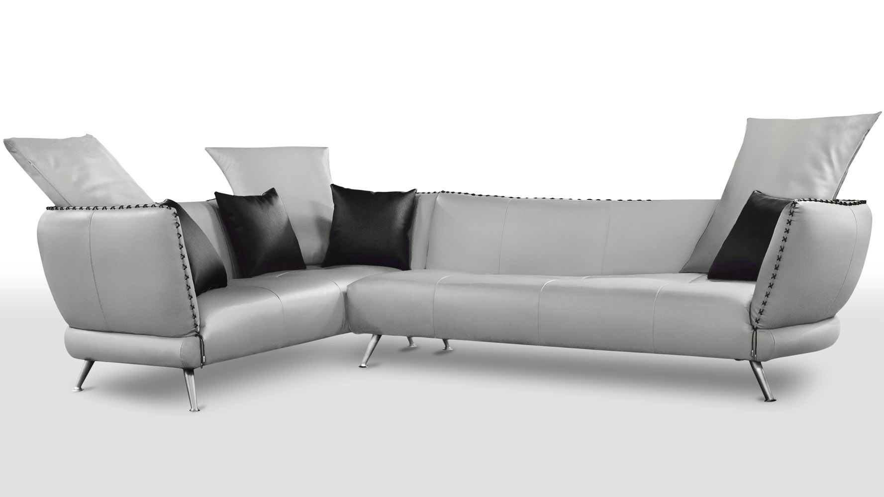 Vitali Microfiber Leather Sectional Light Grey Zuri