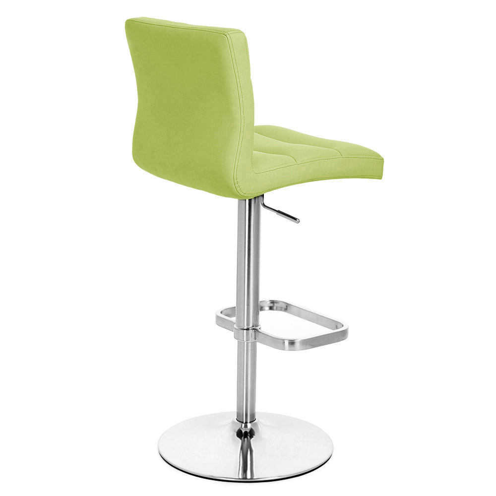Lime Green Lush Adjustable Height Swivel Armless Bar Stool With Chrome Base  | Zuri Furniture