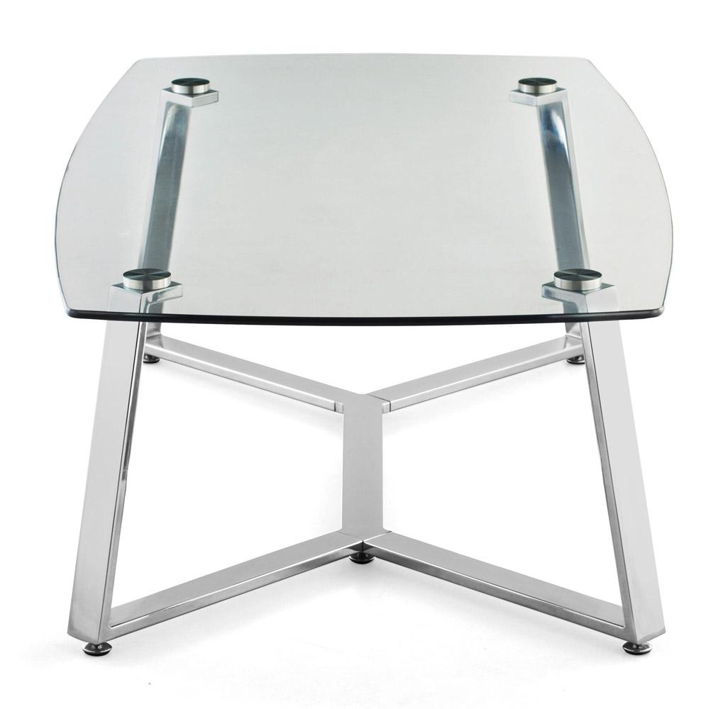 Lloyd Chromed Steel Long Coffee Table - Clear Glass