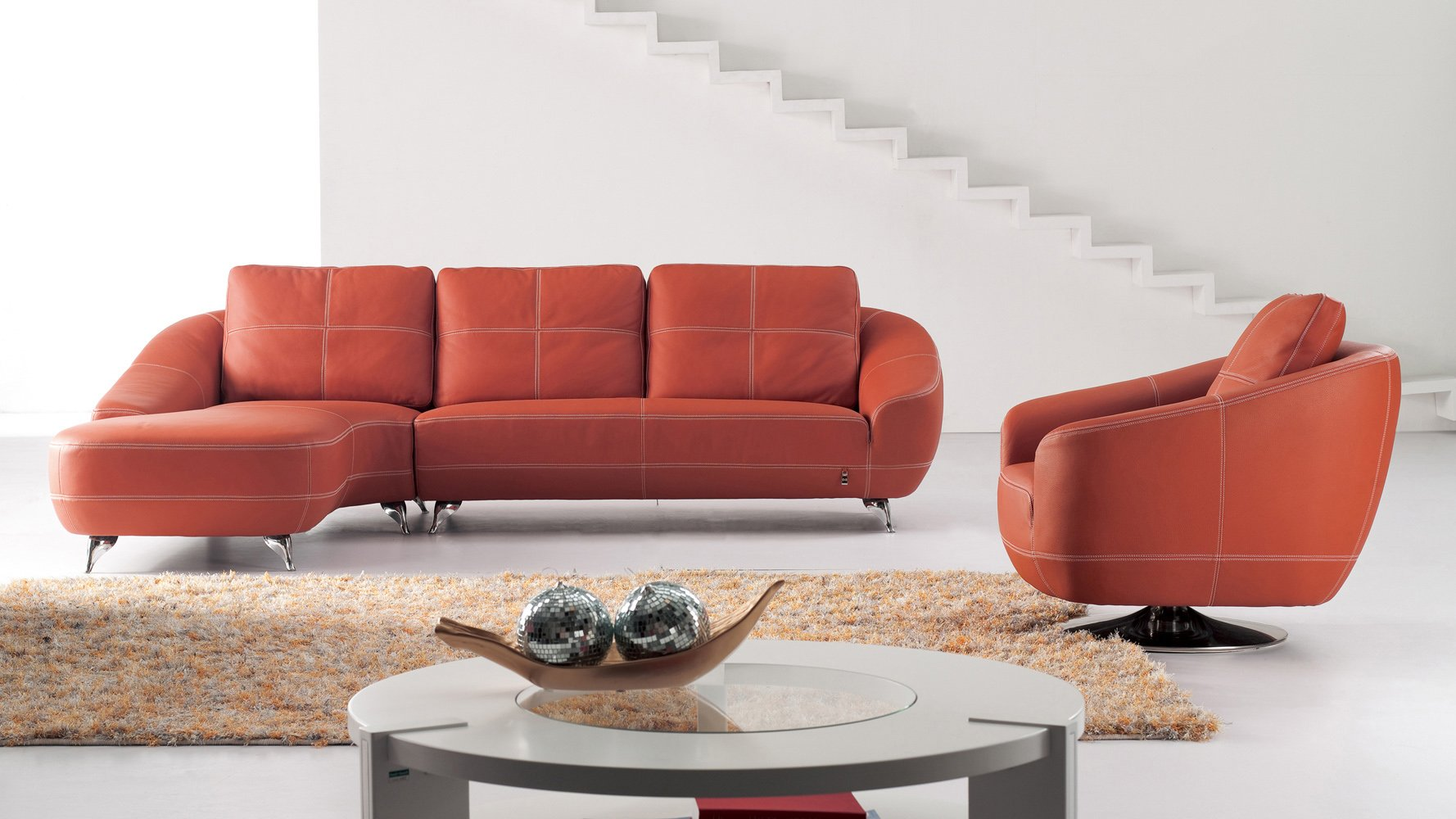 Leather Sofa With Chaise Tan Living Room Modern Carpet