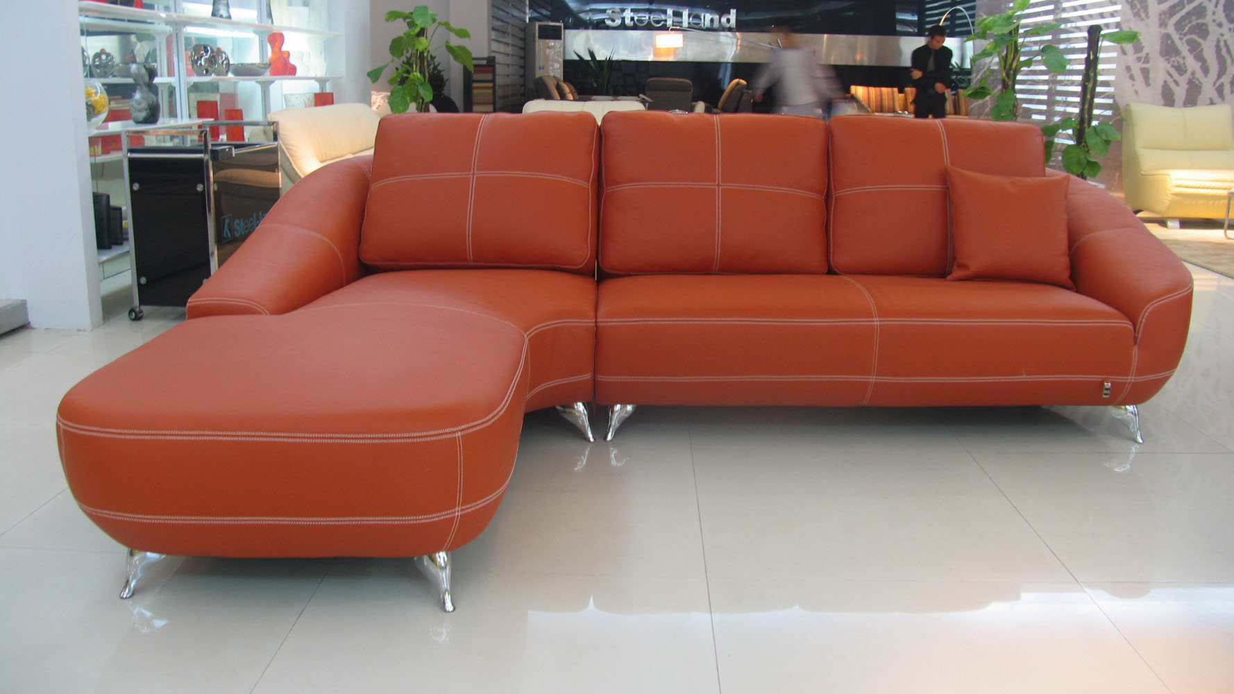 Orange Lucy Leather Sectional Sofa Zuri Furniture