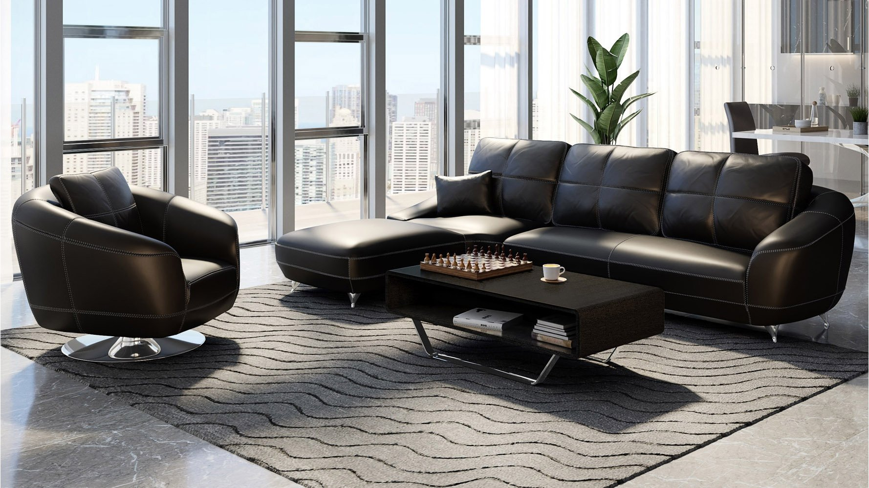 Black Lucy Leather Sectional Sofa Zuri Furniture