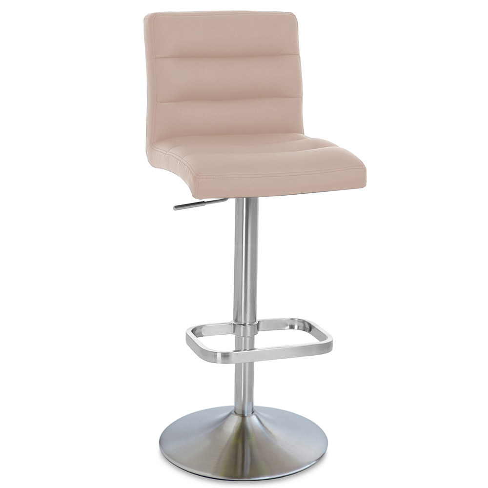 Taupe Lush Adjustable Height Swivel Armless Bar Stool