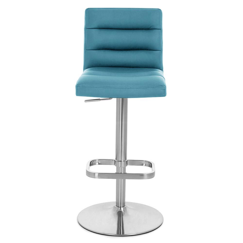 Lush adjustable height swivel armless bar stool zuri furniture - Teal blue bar stools ...