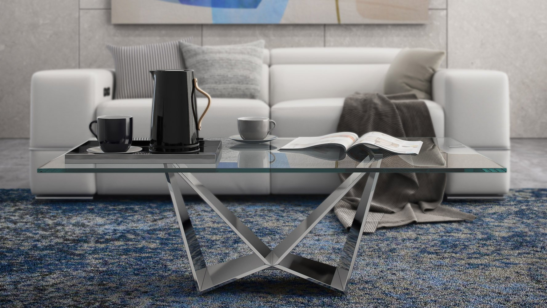 - Serra Modern Coffee Table Oversized 51 Inch In Clear Glass With