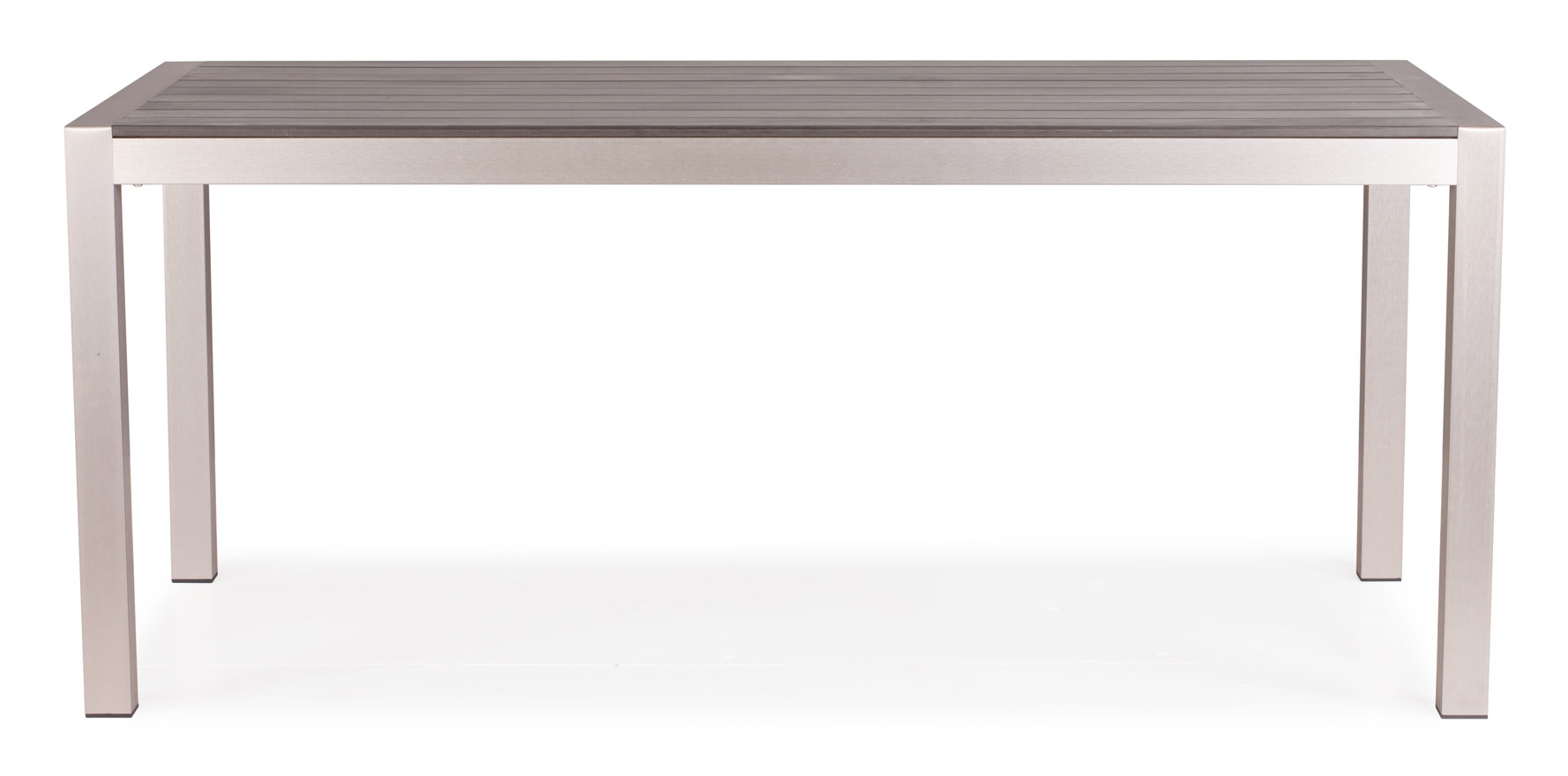 Luzern Gray Brushed Aluminum and Faux Wood Outdoor Dining Table  Zuri Furniture -> Aluminium Table