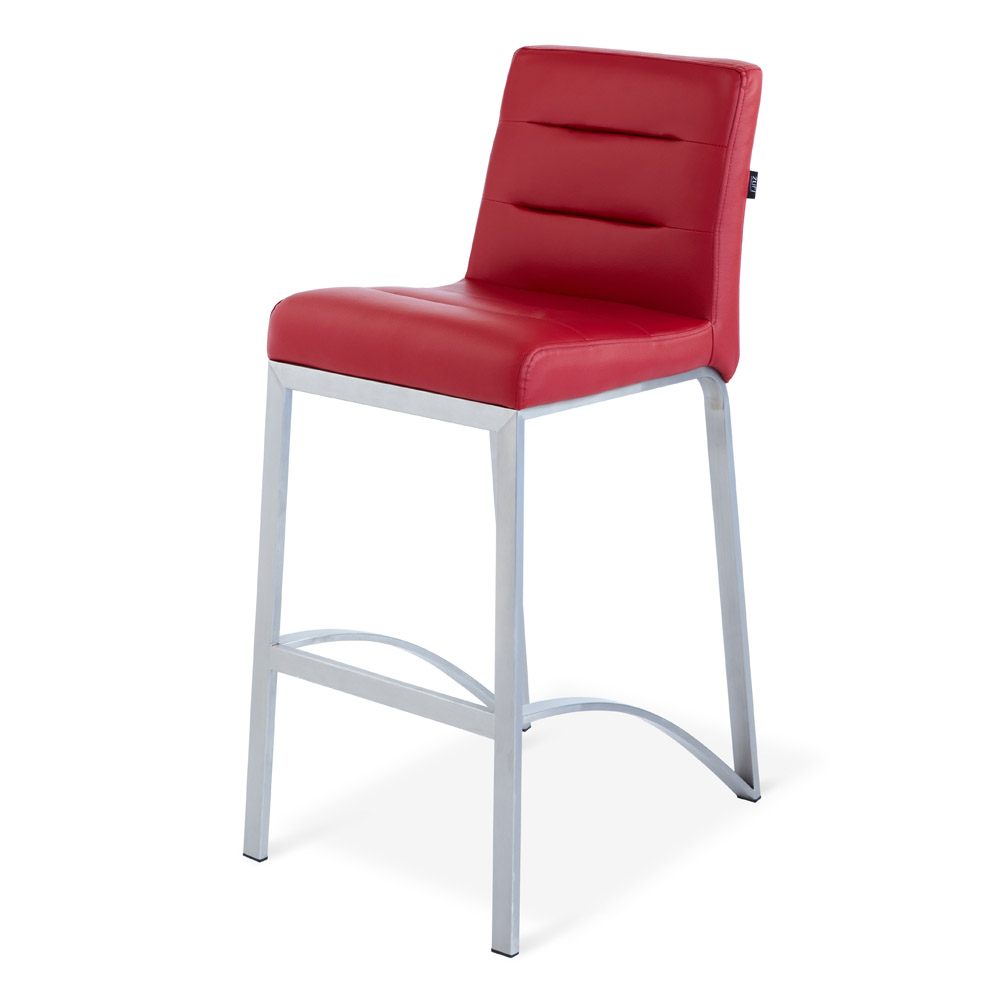 Red Lynx Counter Height Contemporary Bar Stool With Metal