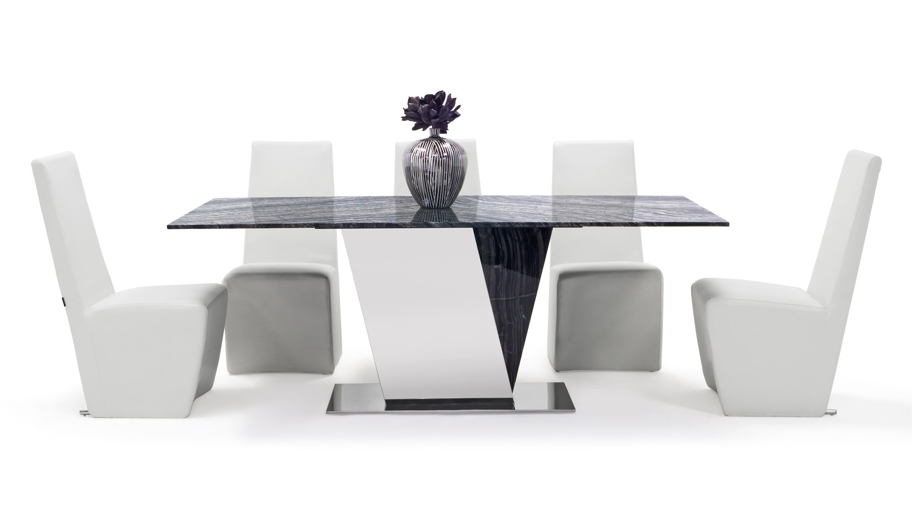 Malbec Black and Grey Marble Dining Table with Polished Stainless