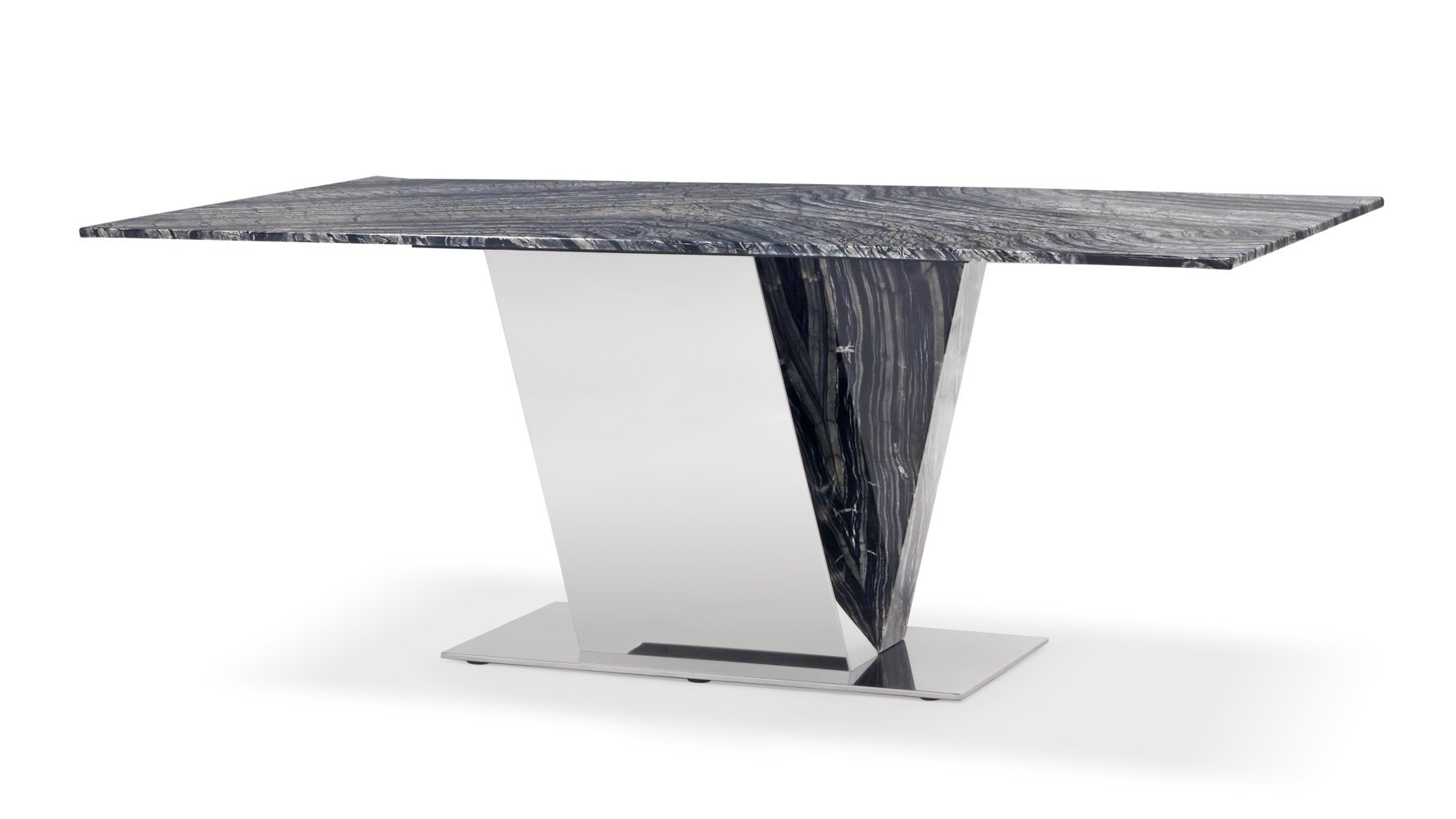 Black and White Marble Polished Stainless Steel Malbec Dining