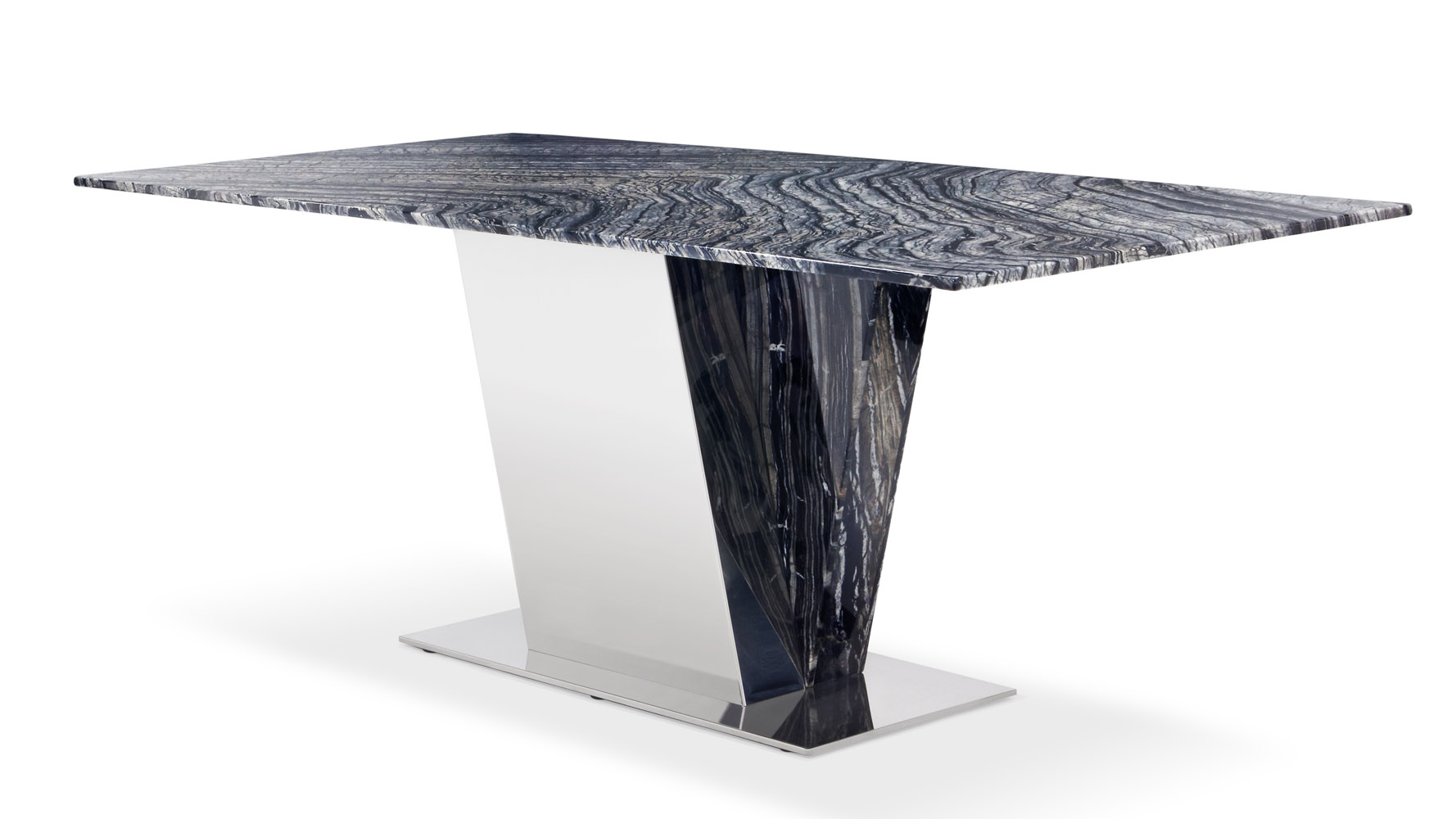 Beau Malbec Black And Grey Marble Dining Table With Polished Stainless Steel  Base | Zuri Furniture