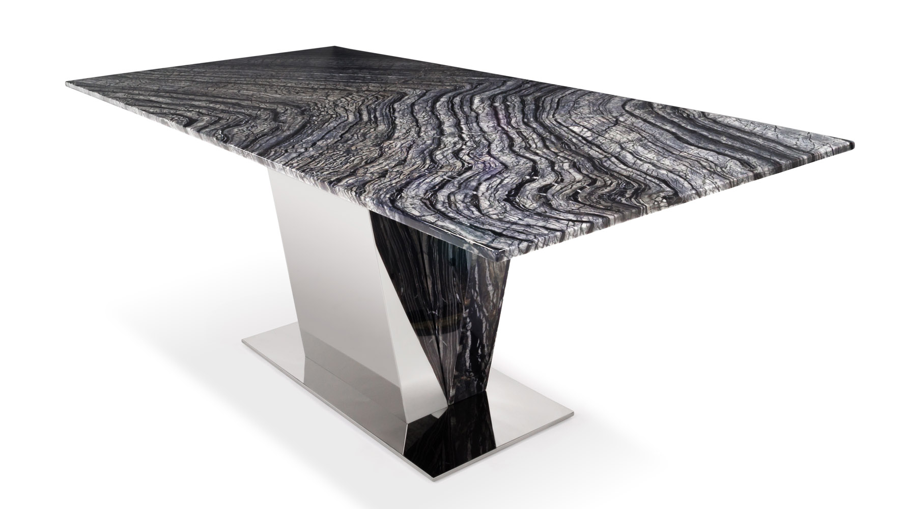 Malbec Black And Grey Marble Dining Table With Polished Stainless Steel  Base | Zuri Furniture