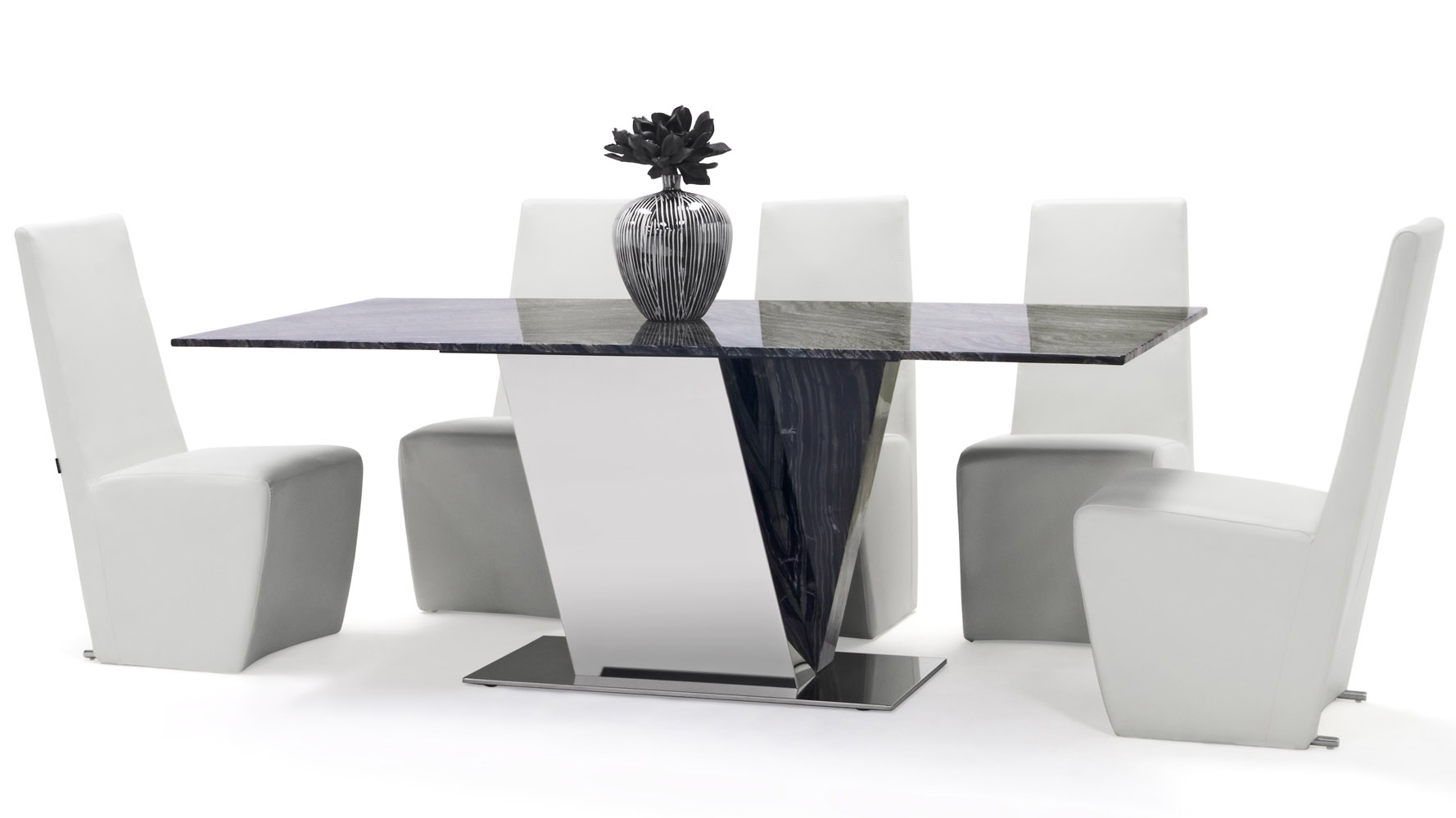 Malbec Black And Grey Marble Dining Table With Polished