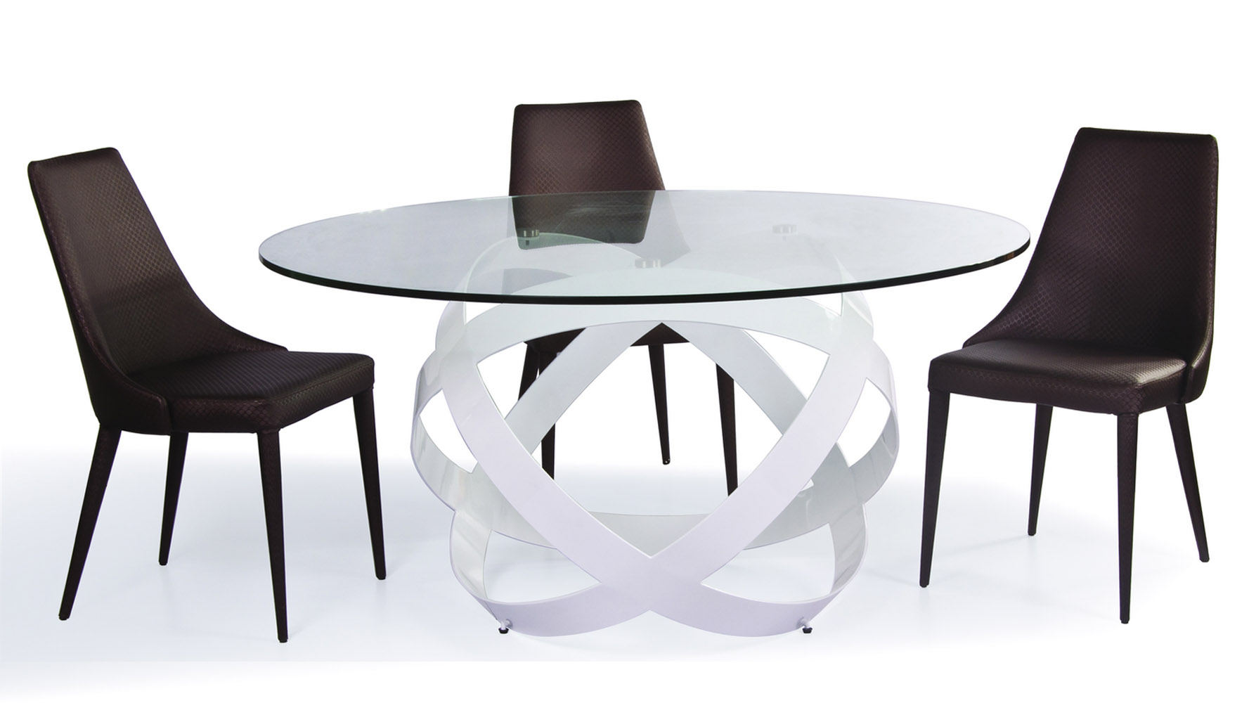 Mambo clear glass top dining table zuri furniture for Dinner table set for 4