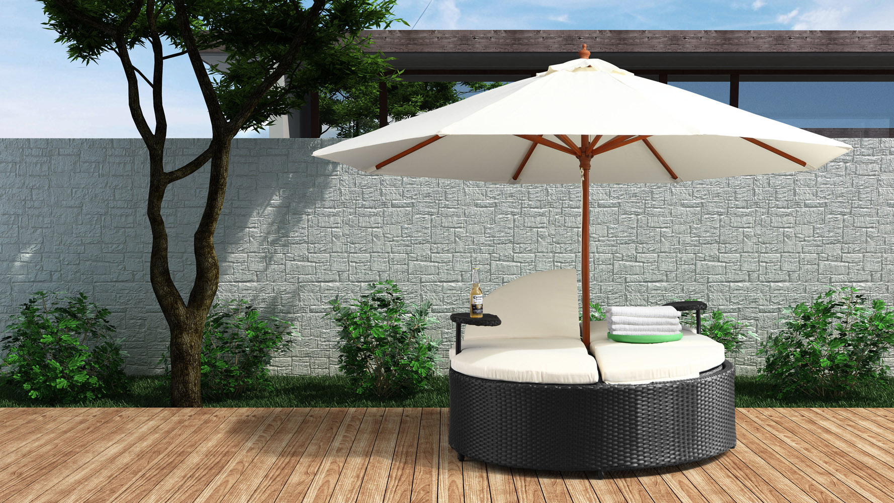 Marbella espresso outdoor patio double chaise lounge bed for Bella flora double chaise lounge