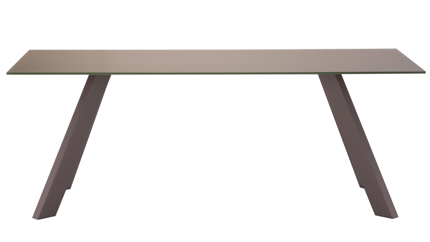 Marion tempered glass dining table with painted steel for Dining table frame