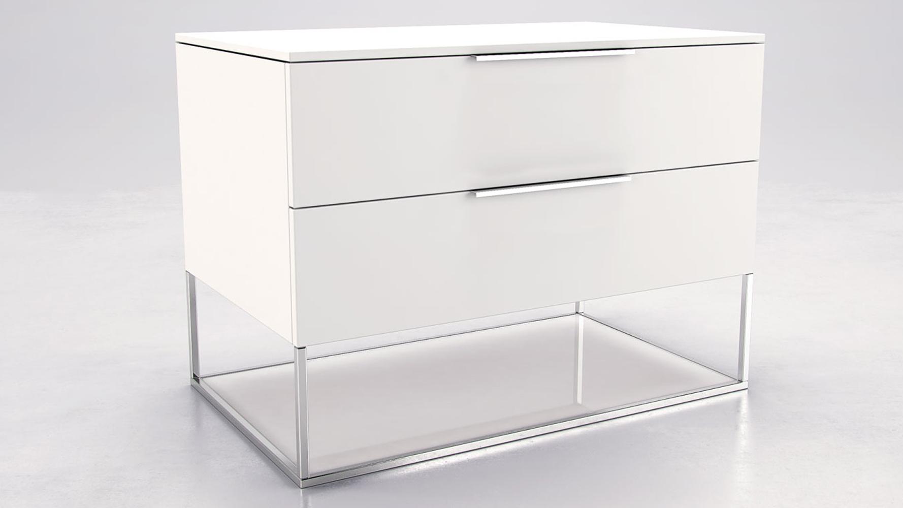 Matte White Lacquer And Glass Milano Nighstand Zuri Furniture