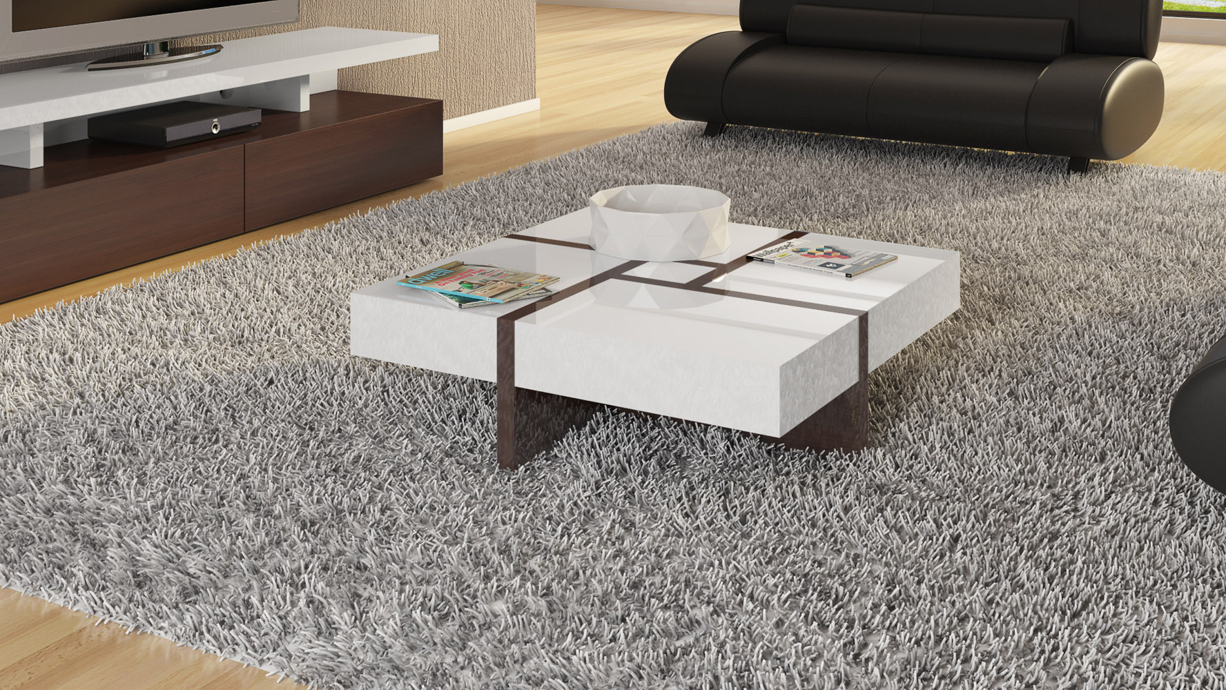 Mcintosh High Gloss Coffee Table With Storage   White Square | Zuri  Furniture