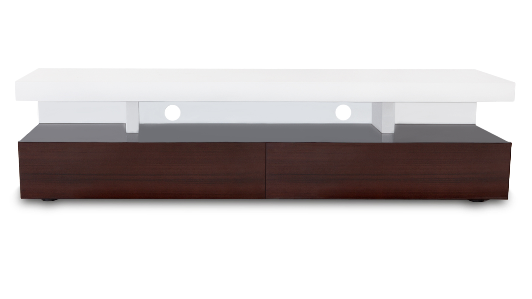 dark wood and white high gloss lacquer mcintosh  inch tv stand  - add reviews to your site