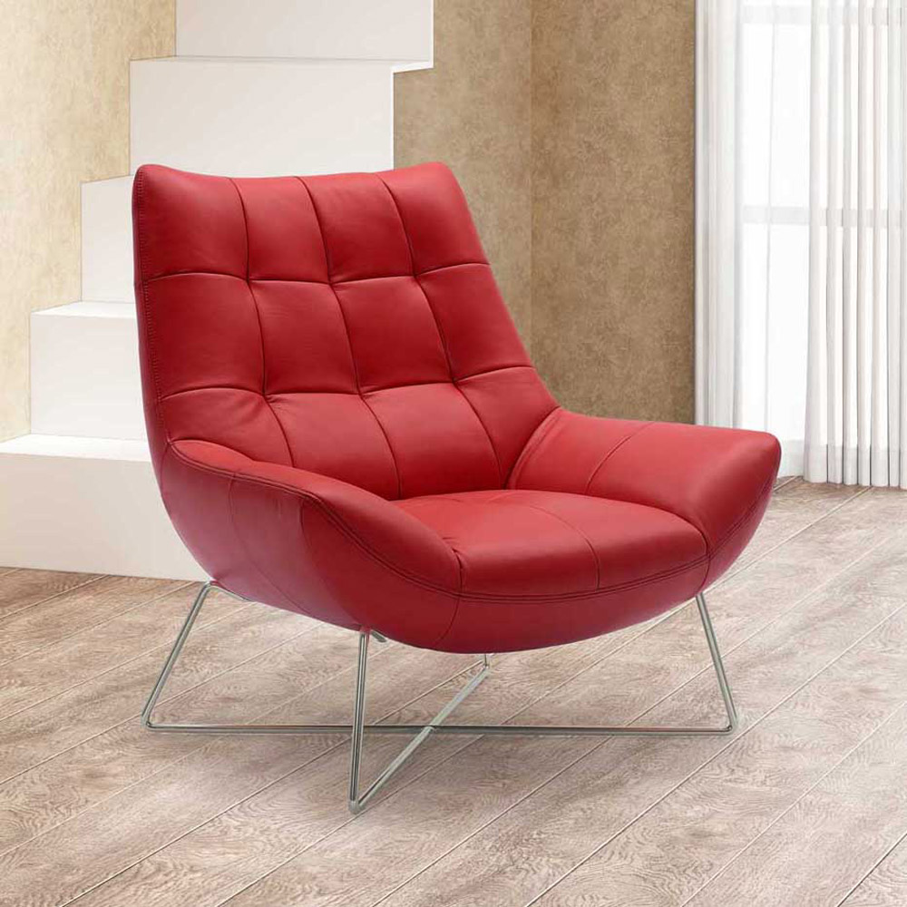 Designer Accent Chairs: Medici Tufted Leather Modern Accent Chair