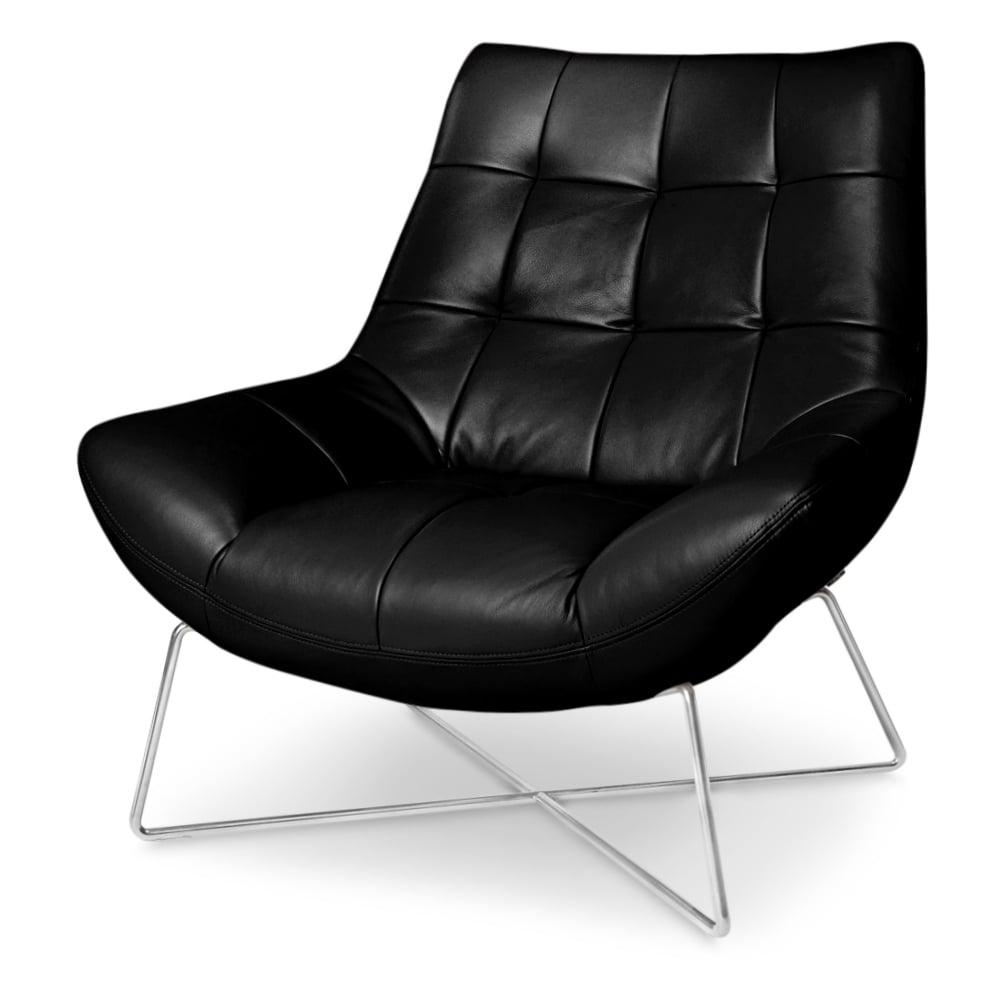 Medici Black Tufted Leather Modern Accent Chair Zuri
