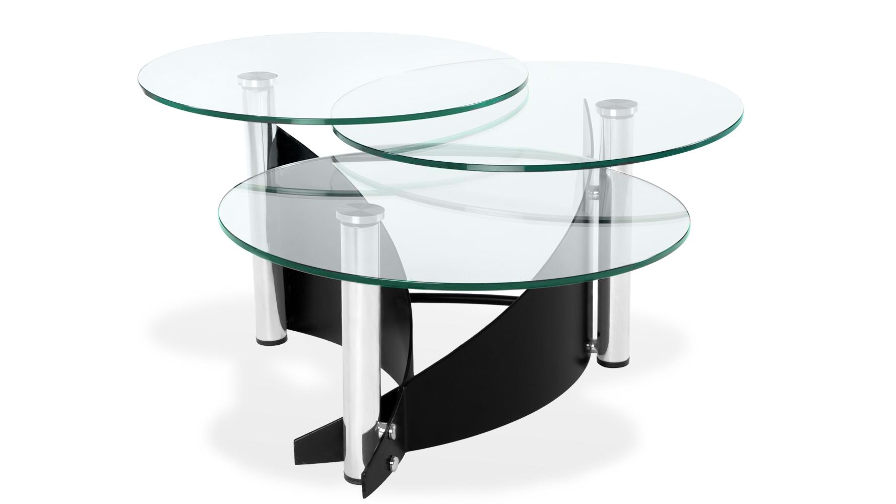 Merc Round Trio Tempered Glass Coffee Table Black Steel Base Zuri Furniture