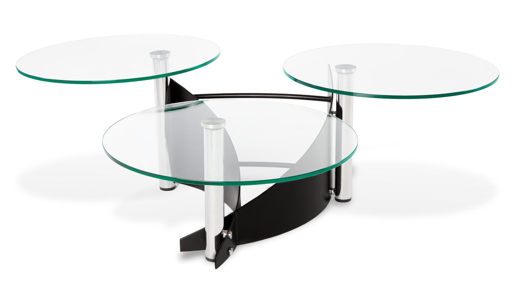 Merc round trio tempered glass coffee table black steel for Tempered glass coffee table
