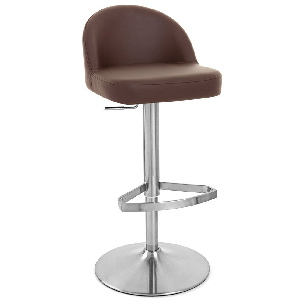 Brown Mimi Adjustable Height Swivel Armless Bar Stool