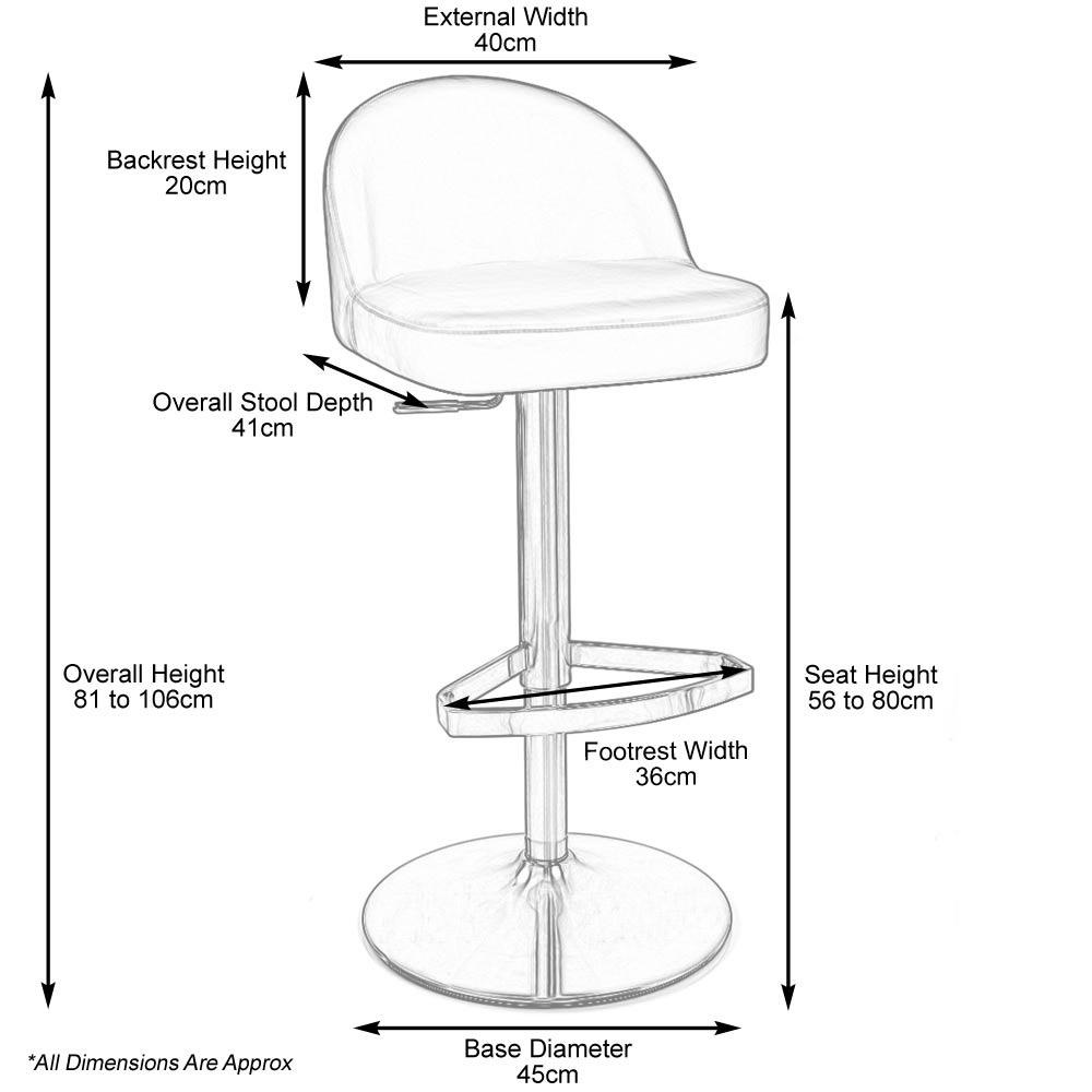 mimi adjustable height bar stool dimensiong