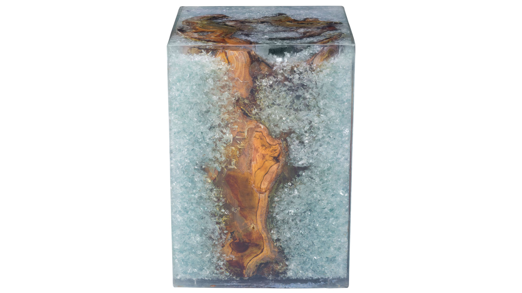 Mira Teak Wood and Glass Stool with Resin Detail, Natural | Zuri ...