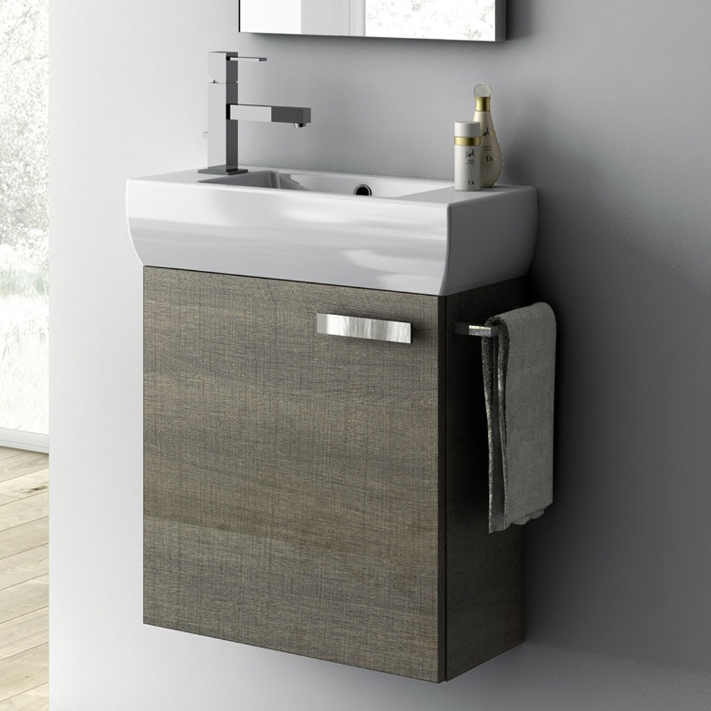 Modern 18 Inch Cubical Vanity Set With Ceramic Sink