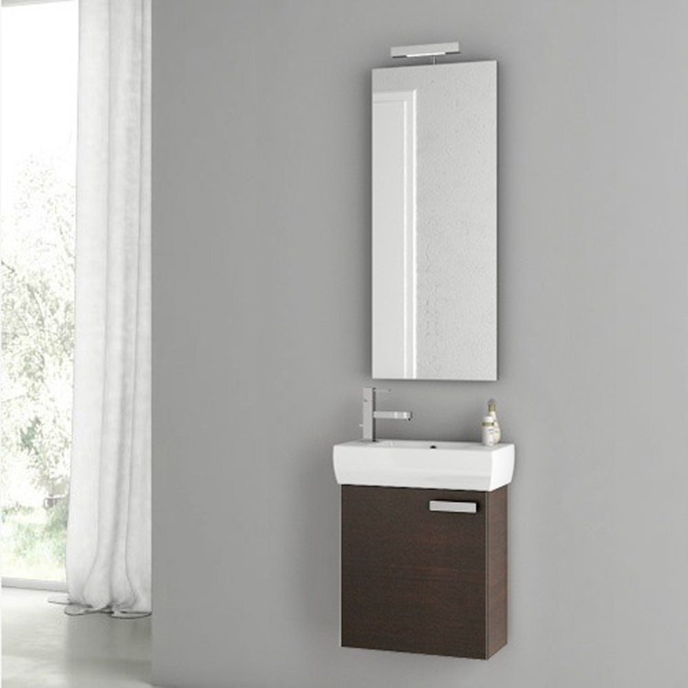 Modern 18 Inch Cubical Vanity Set With Ceramic Sink Glossy White Zuri Furniture