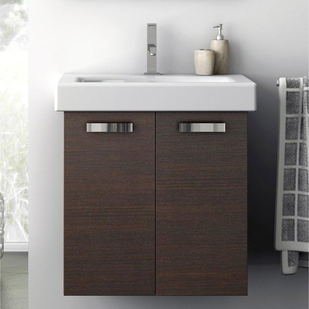 Modern 22 Inch Cubical Vanity Set With Ceramic Sink