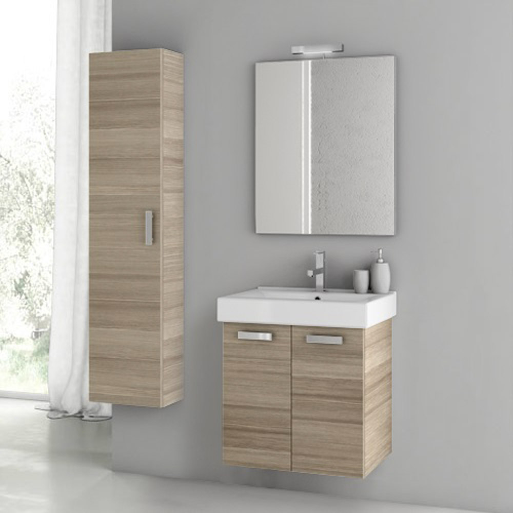 Modern 22 Inch Cubical Vanity Set With Storage Cabinet